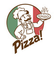 emblem of funny cook or baker with pizza and logo vector image