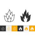 fire bonfire flame simple black line icon vector image vector image