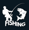fisherman and fish silhouette vector image vector image