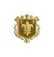 fleur de lis coat arms gold crest retro vector image