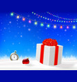 gift box with red ribbon and clock in snow vector image vector image