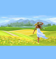 girl in white dress on summer beautiful landscape vector image