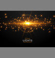 glowing golden light flare with sparkles vector image vector image