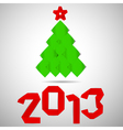 Green tree with red stripe 2013 numerals Christmas vector image