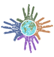 grungy hands around earth vector image vector image