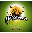 Halloween with pumpkin on green background vector image vector image