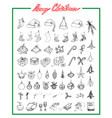 hand drawn set of lovely merry christmas items vector image vector image