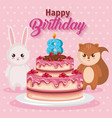 happy birthday card with chipmunk and rabbit vector image