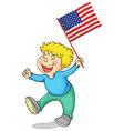 Happy boy holding American flag vector image vector image