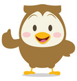 happy brown owl character vector image vector image