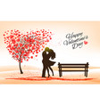 holiday valentines day background tree with vector image