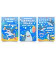 invitation card with cute sharks baby shark vector image vector image