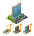 isometric building construction process concept vector image