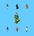 isometric person set of girl doctor pedagogue vector image vector image