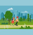 kids riding roller skates in a park vector image vector image