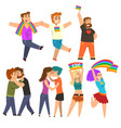 lgbt community celebrating gay pride love parade vector image vector image