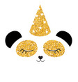 little cute panda with party festive cap for card vector image vector image