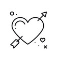 love line arrow heart icon happy valentine day vector image vector image