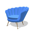 modern blue soft armchair with upholstery vector image vector image