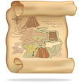 old treasure map for pirate adventures island vector image