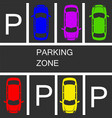 parked cars in a parking zone over dark asphalt vector image