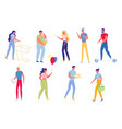 people characters in different activities flat vector image vector image