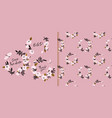 pink flower wreath seamless pattern card templates vector image vector image
