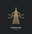 power line flat linear icon commercial vector image vector image