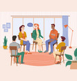 psychotherapy people group therapy with counselor vector image vector image