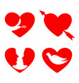 red hearts set collection love images vector image