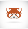 red panda head design on white background wild vector image vector image