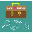 Schoolbag briefcase Magnifier pencil light bulb vector image