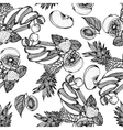 Seamless monochrome pattern with fruit mix vector image