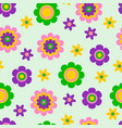 seamless pattern with cute funny cartoon flowers vector image