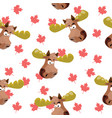 seamless pattern with the image of a moose head on vector image vector image