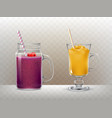 set glasses cups for smoothies vector image vector image