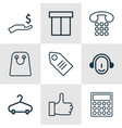set of 9 e-commerce icons includes recommended vector image vector image