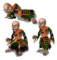 set zombie samurai isolated on white background vector image vector image