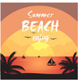 summer beach enjoy sea sunset orange background ve vector image vector image