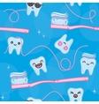 Teeth and toothbrush cartoon seamless vector image vector image
