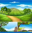 three scenes with mountains at daytime vector image vector image