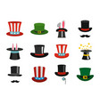 top hat icon set flat style vector image vector image