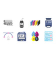 typographical products icons in set collection for vector image