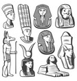 vintage monochrome ancient egypt people set vector image vector image