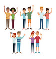 white background with colorful couples of friends vector image