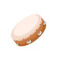 wooden tambourine with metal jingles folk vector image