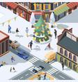 xmas tree in city winter urban landscape with vector image vector image