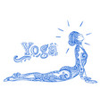 young pretty girl doing yoga vintage decorative vector image