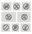 monochrome icons with prohibiting signs vector image