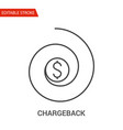 chargeback icon thin line vector image